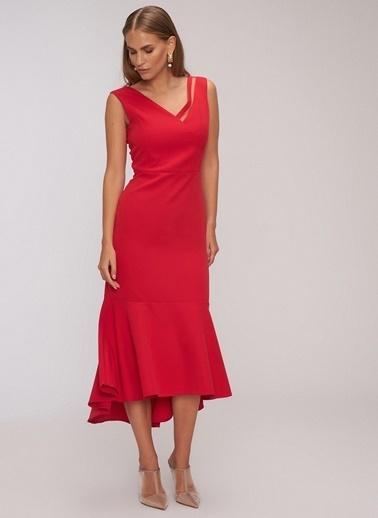 People By Fabrika Krep Elbise Kırmızı